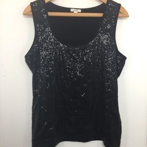 Cache Black Sequined Embellished Top Large